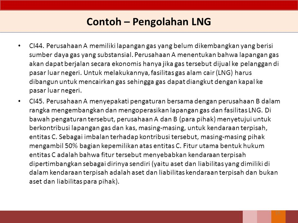 Contoh – Pengolahan LNG CI44. Perusahaan A memiliki lapangan gas yang belum dikembangkan yang berisi sumber daya gas yang substansial. Perusahaan A me