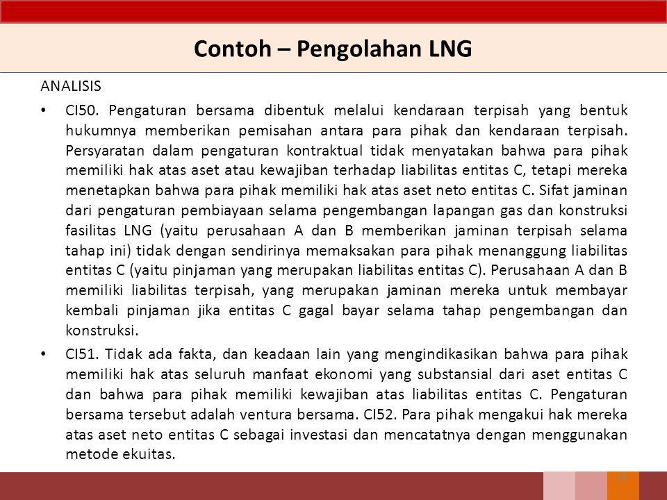 Contoh – Pengolahan LNG ANALISIS CI50. Pengaturan bersama dibentuk melalui kendaraan terpisah yang bentuk hukumnya memberikan pemisahan antara para pi