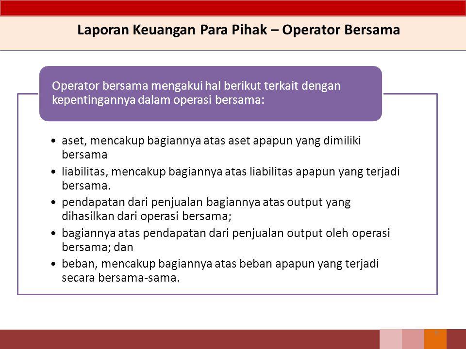 Laporan Keuangan Para Pihak – Operator Bersama 9 aset, mencakup bagiannya atas aset apapun yang dimiliki bersama liabilitas, mencakup bagiannya atas liabilitas apapun yang terjadi bersama.