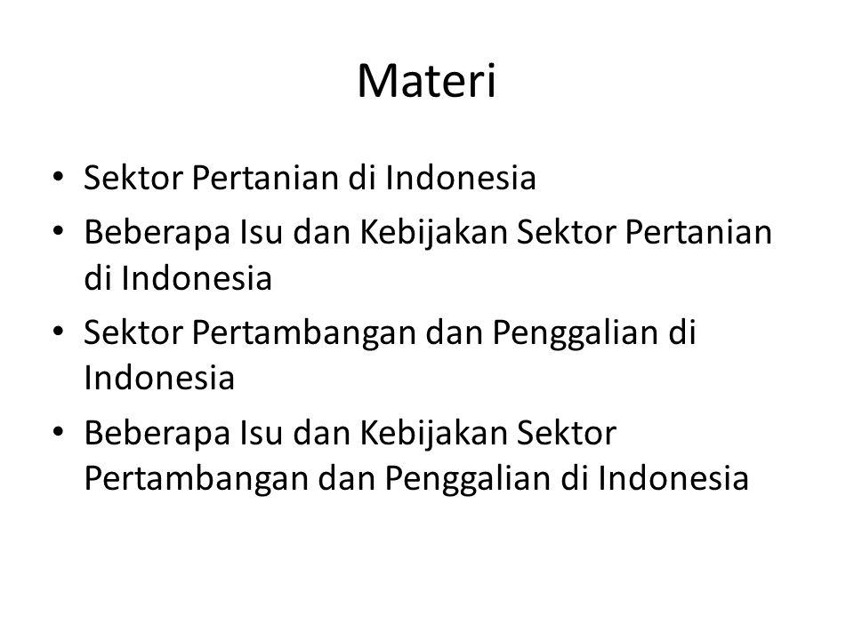 Materi Sektor Pertanian di Indonesia Beberapa Isu dan Kebijakan Sektor Pertanian di Indonesia Sektor Pertambangan dan Penggalian di Indonesia Beberapa