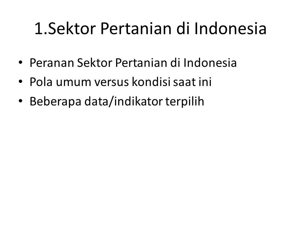 1.Sektor Pertanian di Indonesia Peranan Sektor Pertanian di Indonesia Pola umum versus kondisi saat ini Beberapa data/indikator terpilih