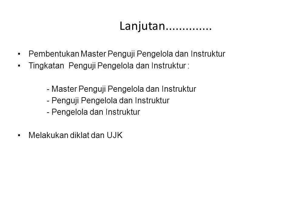 Lanjutan.............. Pembentukan Master Penguji Pengelola dan Instruktur Tingkatan Penguji Pengelola dan Instruktur : - Master Penguji Pengelola dan