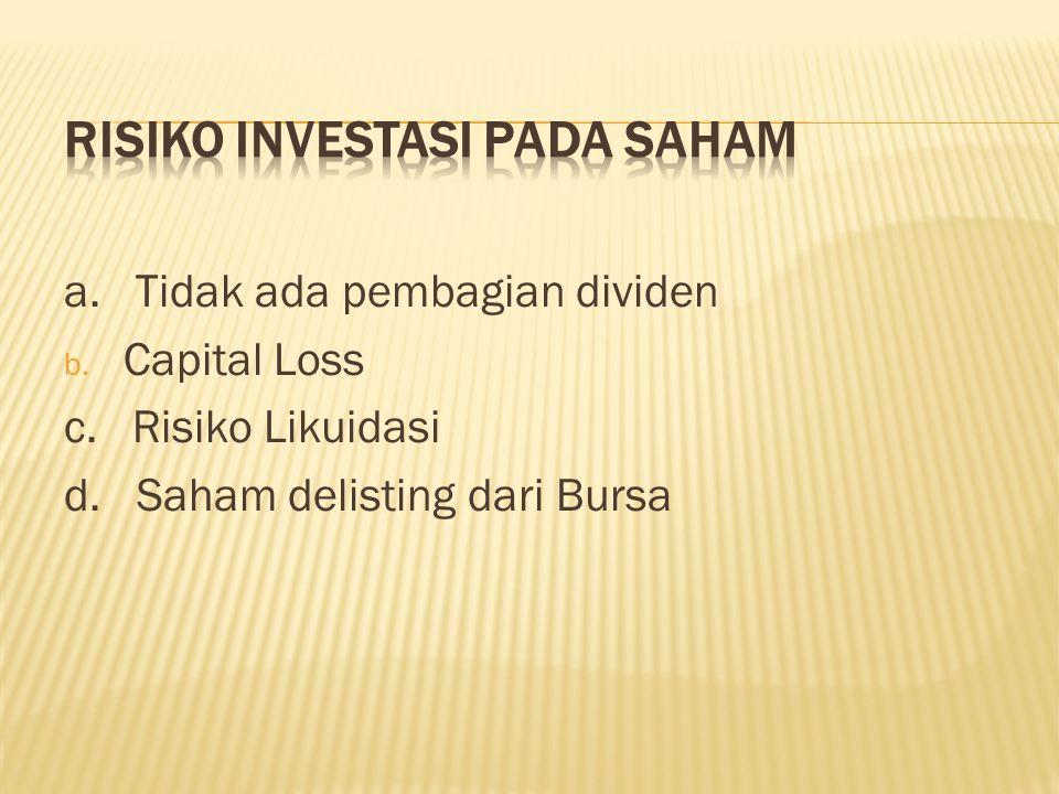 a. Tidak ada pembagian dividen b. Capital Loss c. Risiko Likuidasi d. Saham delisting dari Bursa