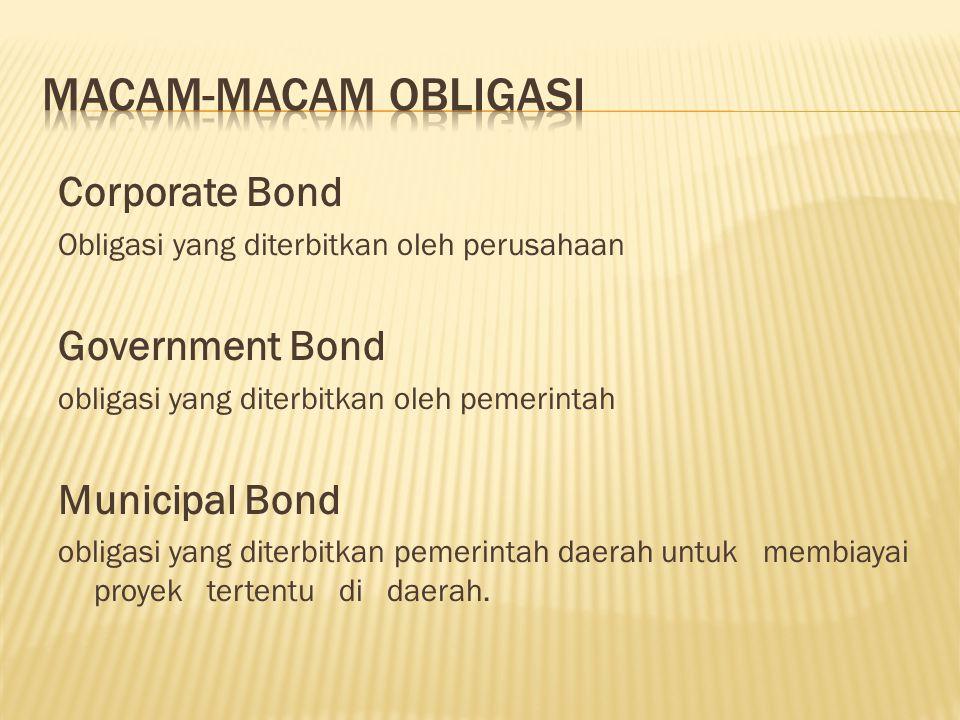 Corporate Bond Obligasi yang diterbitkan oleh perusahaan Government Bond obligasi yang diterbitkan oleh pemerintah Municipal Bond obligasi yang diterb