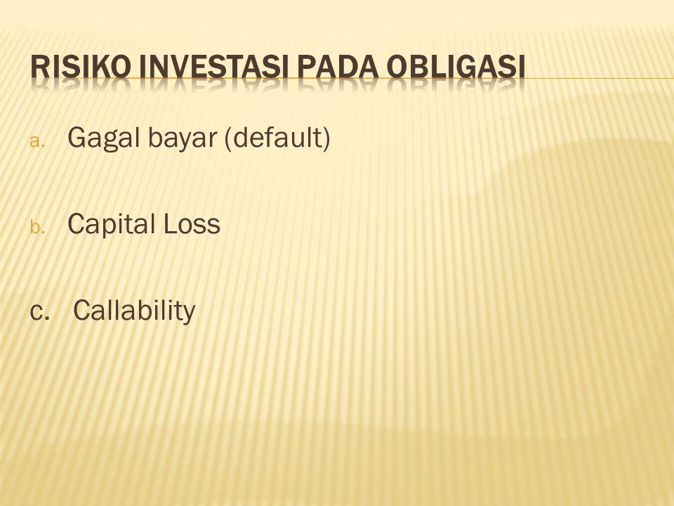 a. Gagal bayar (default) b. Capital Loss c. Callability