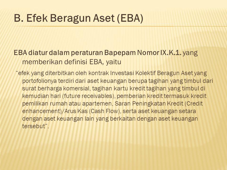 """B. Efek Beragun Aset (EBA) EBA diatur dalam peraturan Bapepam Nomor IX.K.1. yang memberikan definisi EBA, yaitu """"efek yang diterbitkan oleh kontrak In"""