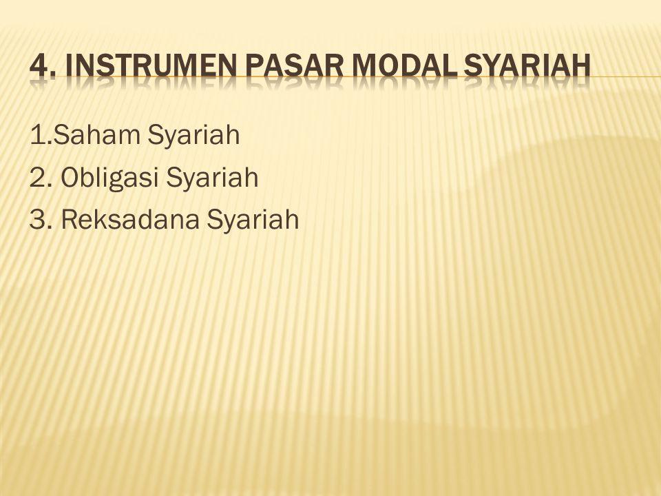 1.Saham Syariah 2. Obligasi Syariah 3. Reksadana Syariah