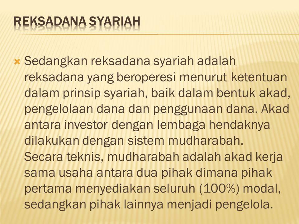  Sedangkan reksadana syariah adalah reksadana yang beroperesi menurut ketentuan dalam prinsip syariah, baik dalam bentuk akad, pengelolaan dana dan p