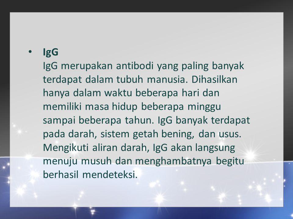 IgG IgG merupakan antibodi yang paling banyak terdapat dalam tubuh manusia.