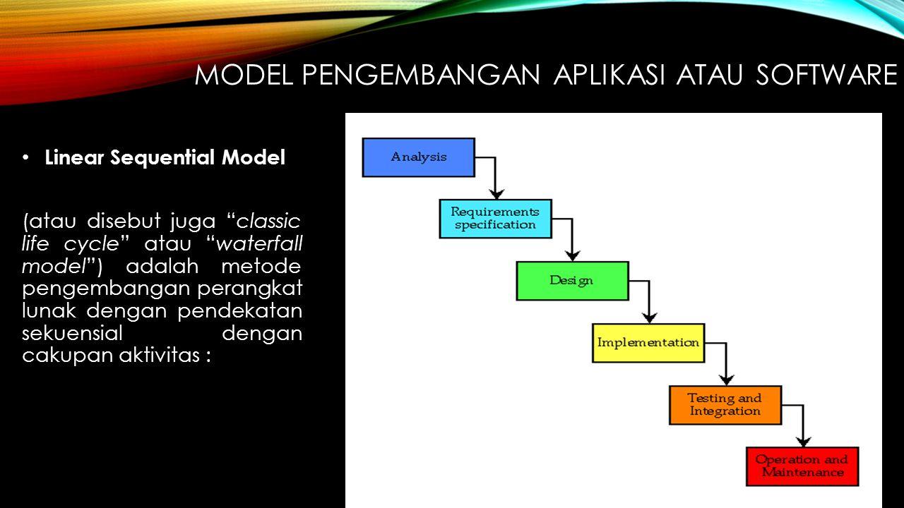 """MODEL PENGEMBANGAN APLIKASI ATAU SOFTWARE Linear Sequential Model (atau disebut juga """"classic life cycle"""" atau """"waterfall model"""") adalah metode pengem"""