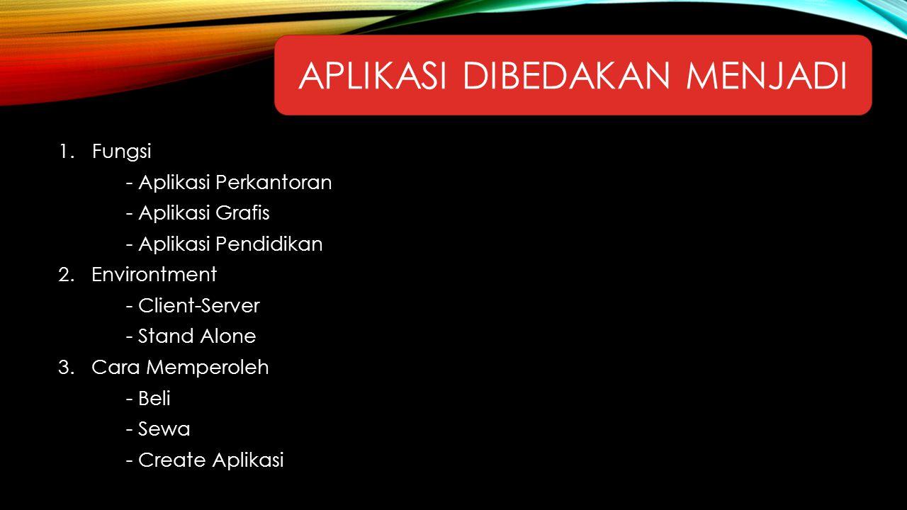 APLIKASI DIBEDAKAN MENJADI 1.Fungsi - Aplikasi Perkantoran - Aplikasi Grafis - Aplikasi Pendidikan 2. Environtment - Client-Server - Stand Alone 3. Ca