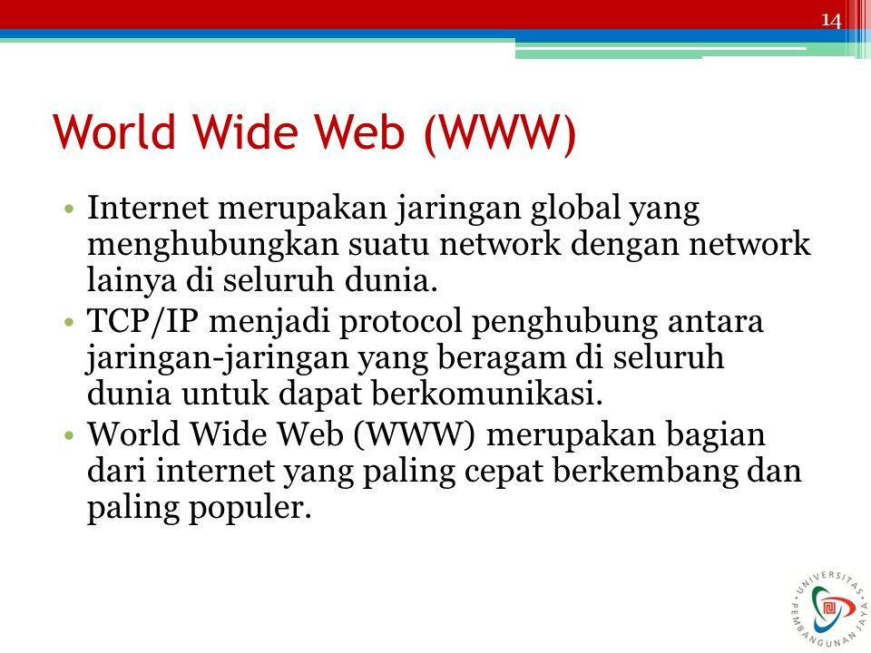 14 World Wide Web (WWW) Internet merupakan jaringan global yang menghubungkan suatu network dengan network lainya di seluruh dunia. TCP/IP menjadi pro