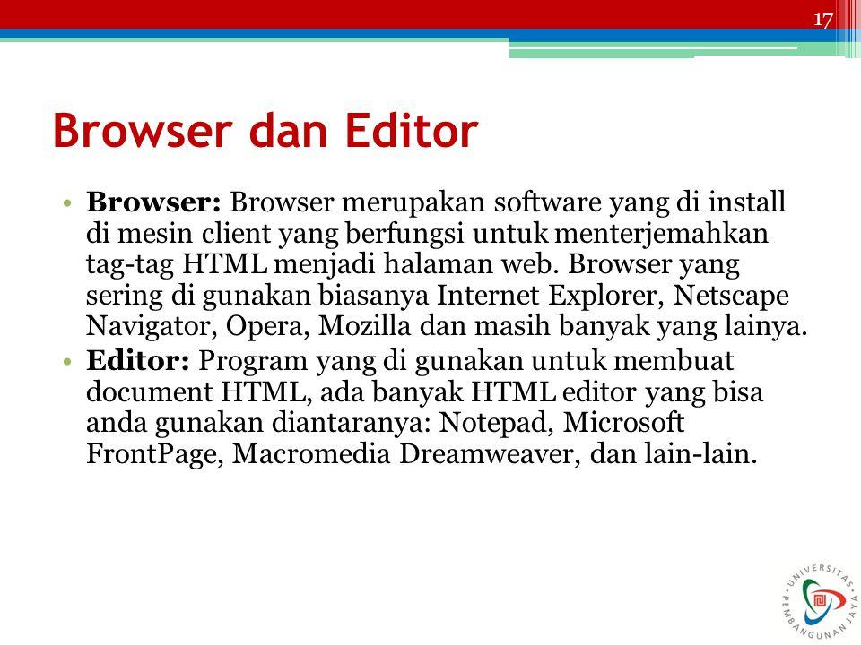 17 Browser dan Editor Browser: Browser merupakan software yang di install di mesin client yang berfungsi untuk menterjemahkan tag-tag HTML menjadi halaman web.