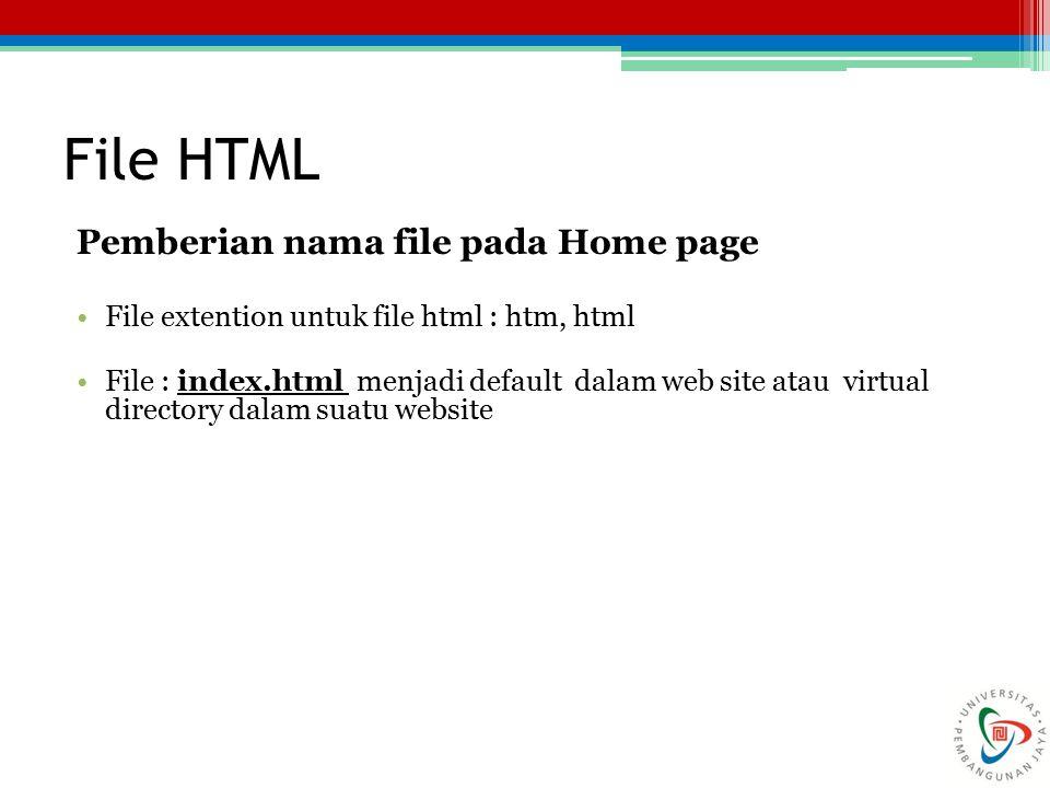 File HTML Pemberian nama file pada Home page File extention untuk file html : htm, html File : index.html menjadi default dalam web site atau virtual directory dalam suatu website