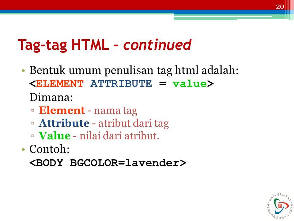 20 Tag-tag HTML - continued Bentuk umum penulisan tag html adalah: Dimana: ▫Element - nama tag ▫Attribute - atribut dari tag ▫Value - nilai dari atrib