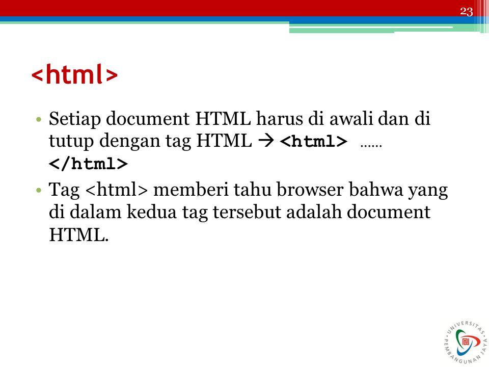 23 Setiap document HTML harus di awali dan di tutup dengan tag HTML  …… Tag memberi tahu browser bahwa yang di dalam kedua tag tersebut adalah document HTML.
