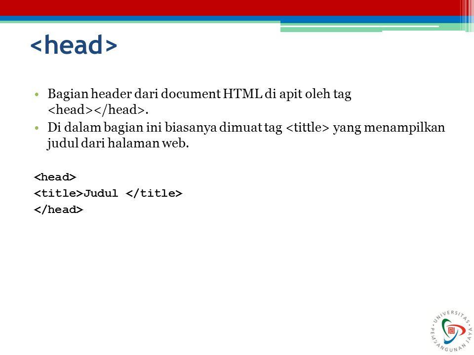 24 Bagian header dari document HTML di apit oleh tag. Di dalam bagian ini biasanya dimuat tag yang menampilkan judul dari halaman web. Judul