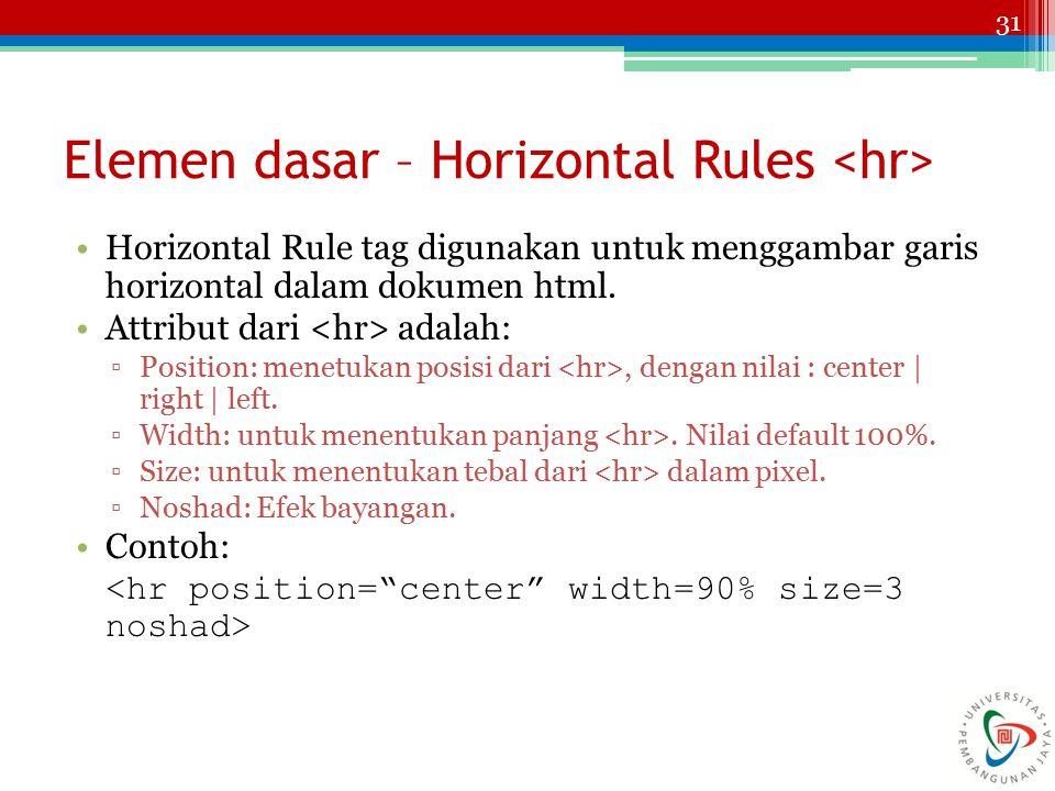 31 Elemen dasar – Horizontal Rules Horizontal Rule tag digunakan untuk menggambar garis horizontal dalam dokumen html. Attribut dari adalah: ▫Position
