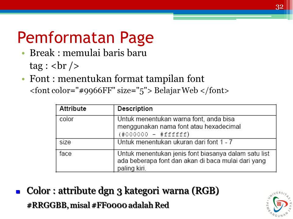 32 Pemformatan Page Break : memulai baris baru tag : Font : menentukan format tampilan font Belajar Web Color : attribute dgn 3 kategori warna (RGB) Color : attribute dgn 3 kategori warna (RGB) #RRGGBB, misal #FF0000 adalah Red