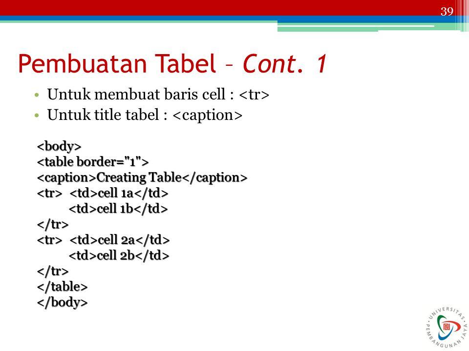 39 Untuk membuat baris cell : Untuk title tabel : Pembuatan Tabel – Cont. 1 <body> Creating Table Creating Table cell 1a cell 1a cell 1b cell 1b </tr>