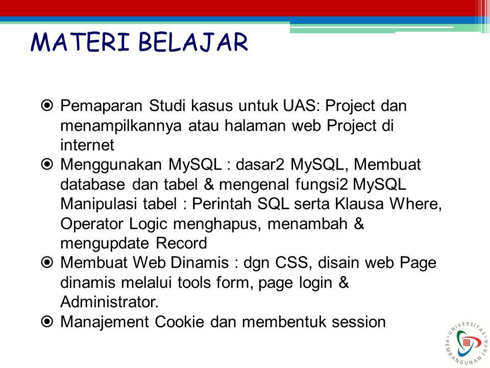  Pemaparan Studi kasus untuk UAS: Project dan menampilkannya atau halaman web Project di internet  Menggunakan MySQL : dasar2 MySQL, Membuat databas