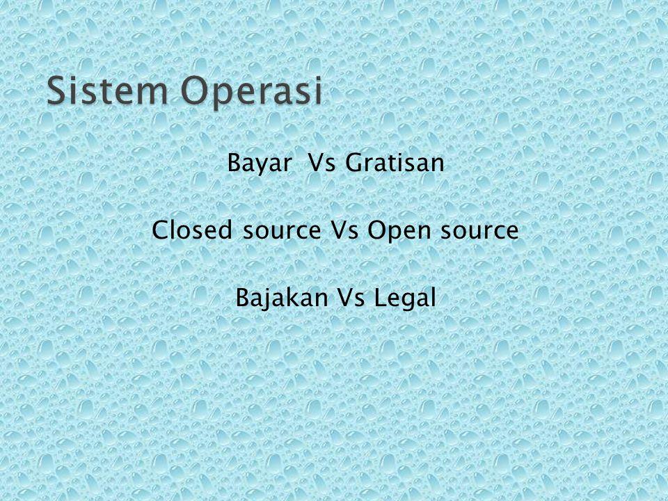 Bayar Vs Gratisan Closed source Vs Open source Bajakan Vs Legal