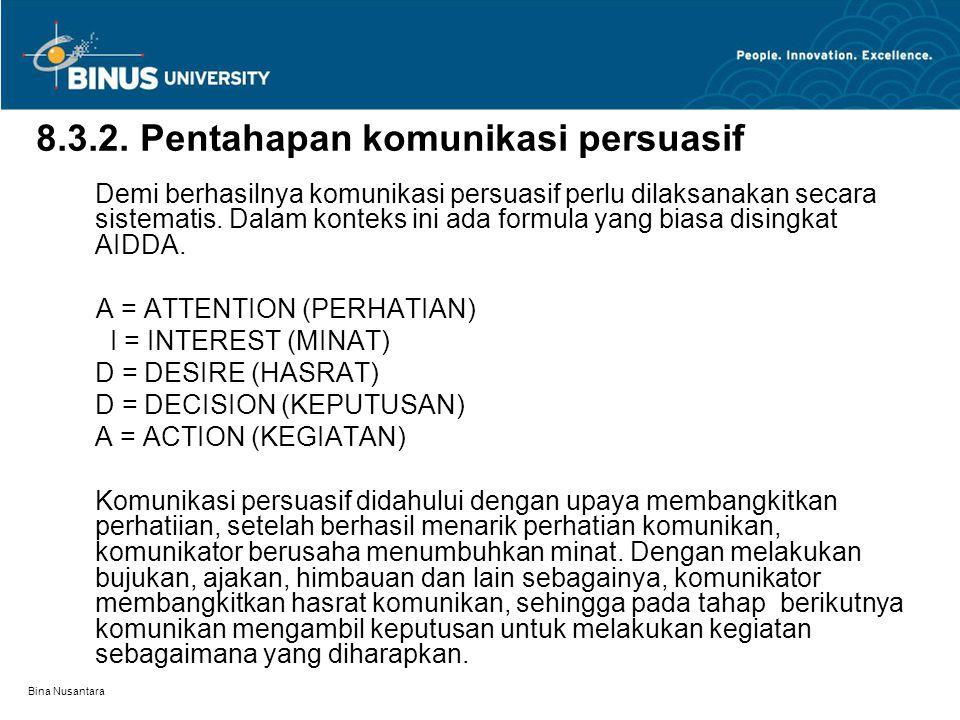 Bina Nusantara 8.3.2. Pentahapan komunikasi persuasif Demi berhasilnya komunikasi persuasif perlu dilaksanakan secara sistematis. Dalam konteks ini ad