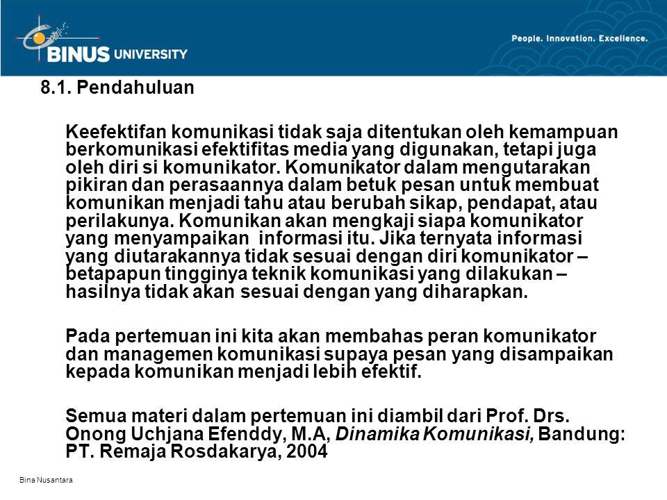 Bina Nusantara 8.1. Pendahuluan Keefektifan komunikasi tidak saja ditentukan oleh kemampuan berkomunikasi efektifitas media yang digunakan, tetapi jug