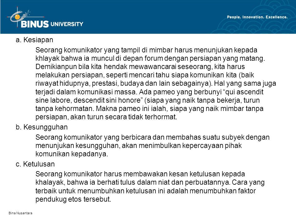 Bina Nusantara a.