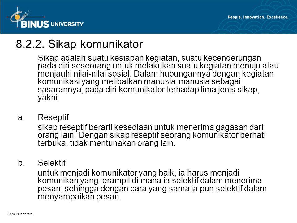 Bina Nusantara 8.2.2. Sikap komunikator Sikap adalah suatu kesiapan kegiatan, suatu kecenderungan pada diri seseorang untuk melakukan suatu kegiatan m