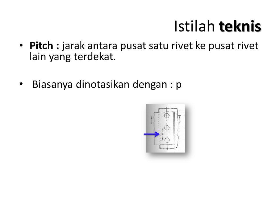 teknis Istilah teknis Pitch : jarak antara pusat satu rivet ke pusat rivet lain yang terdekat. Biasanya dinotasikan dengan : p