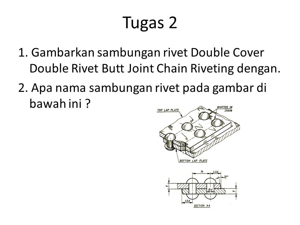 Tugas 2 1. Gambarkan sambungan rivet Double Cover Double Rivet Butt Joint Chain Riveting dengan. 2. Apa nama sambungan rivet pada gambar di bawah ini