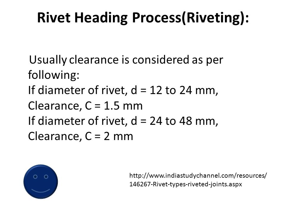 TYPES OF RIVETS Rivets with counter sunk head as in Figure 3.2(b) and oval counter sunk rivets shown in Figure 3.2(c) are not as strong as button head rivets.