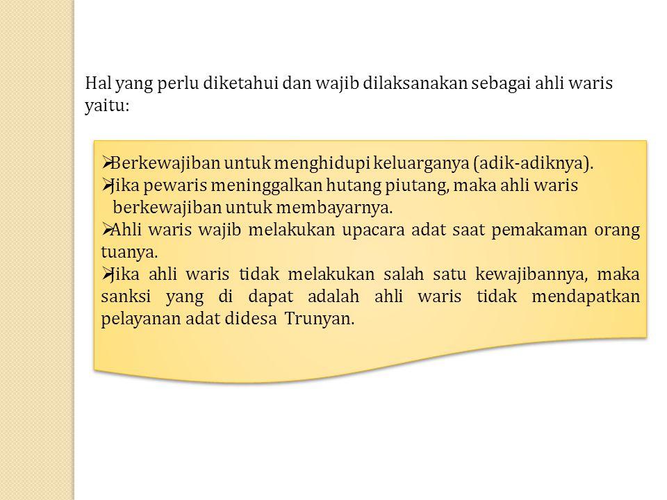 Tata Penyerahan dan Pembagian Warisan di Desa Trunyan Tata penyerahan warisan di desa Trunyan tidak melakukan upacara adat.
