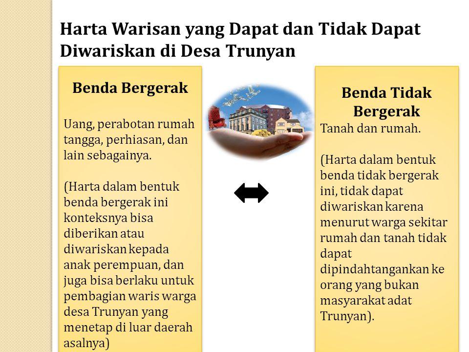 Harta Warisan yang Dapat dan Tidak Dapat Diwariskan di Desa Trunyan Benda Bergerak Uang, perabotan rumah tangga, perhiasan, dan lain sebagainya. (Hart