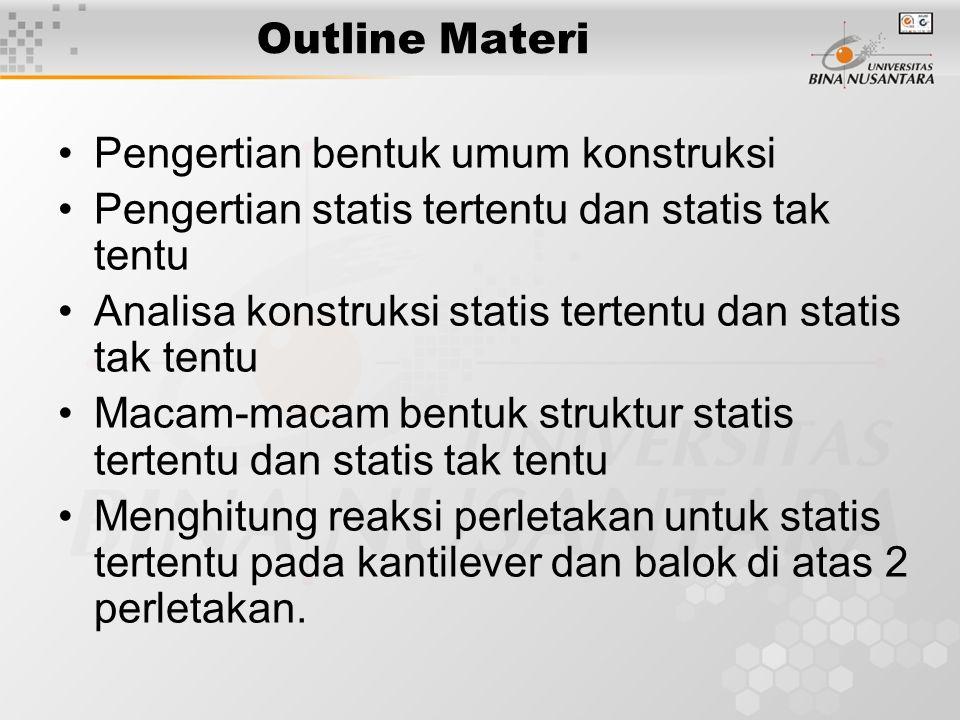 Outline Materi Pengertian bentuk umum konstruksi Pengertian statis tertentu dan statis tak tentu Analisa konstruksi statis tertentu dan statis tak ten