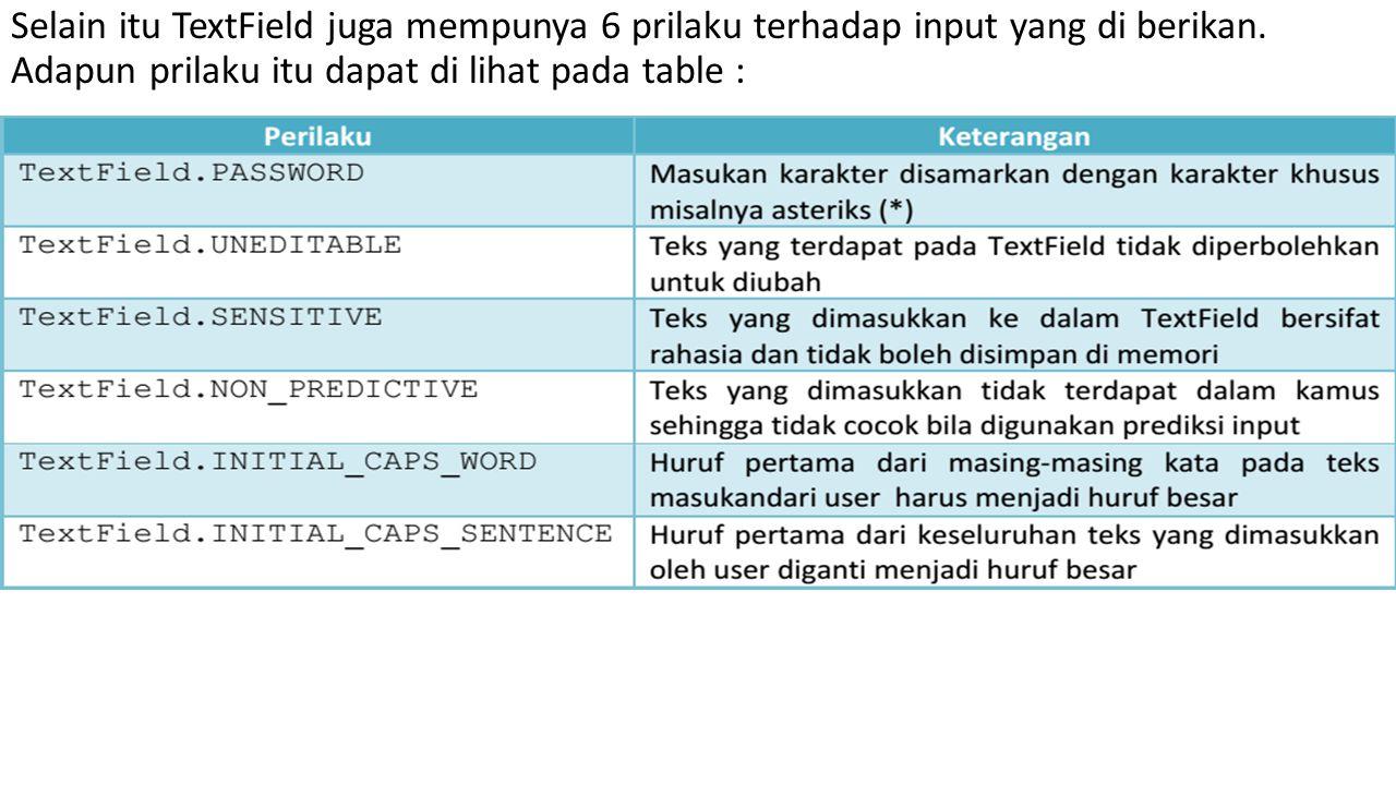 Selain itu TextField juga mempunya 6 prilaku terhadap input yang di berikan.