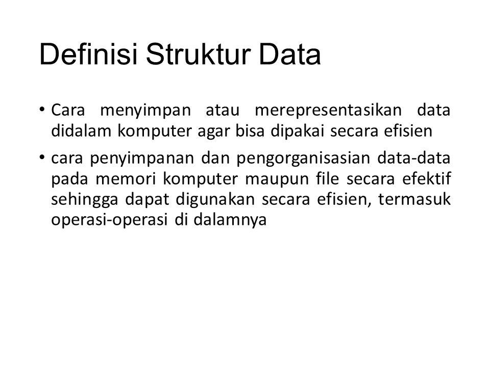 Definisi Struktur Data Cara menyimpan atau merepresentasikan data didalam komputer agar bisa dipakai secara efisien cara penyimpanan dan pengorganisas