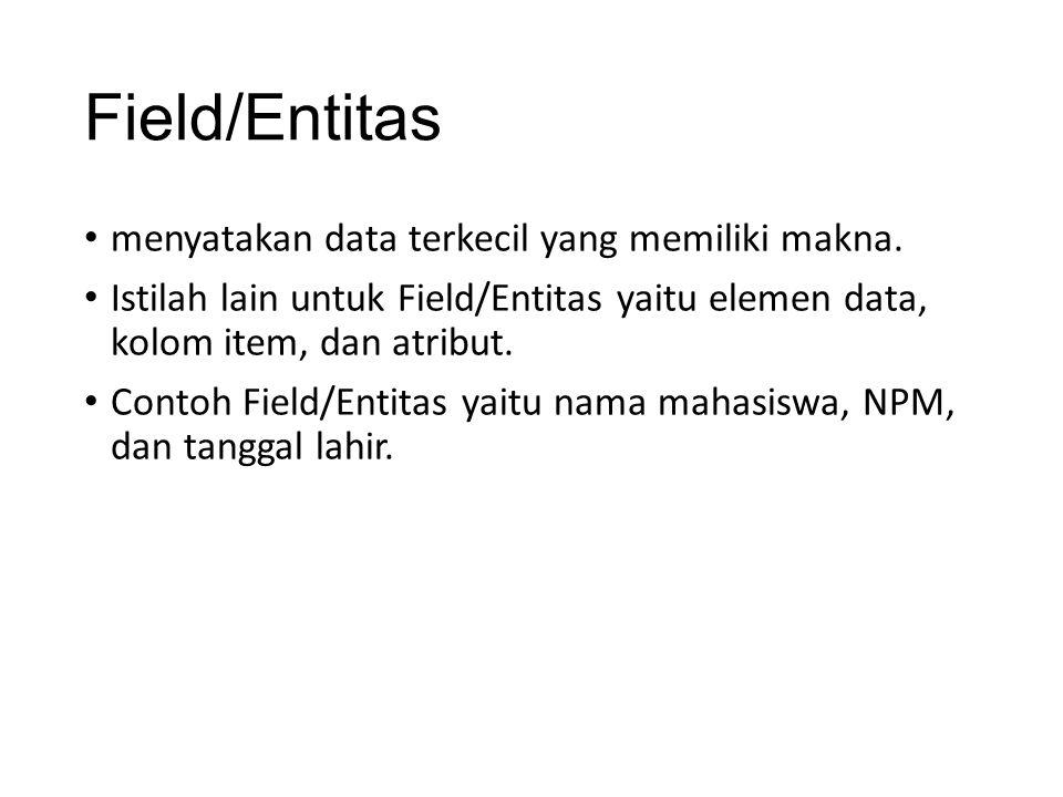 Field/Entitas menyatakan data terkecil yang memiliki makna. Istilah lain untuk Field/Entitas yaitu elemen data, kolom item, dan atribut. Contoh Field/