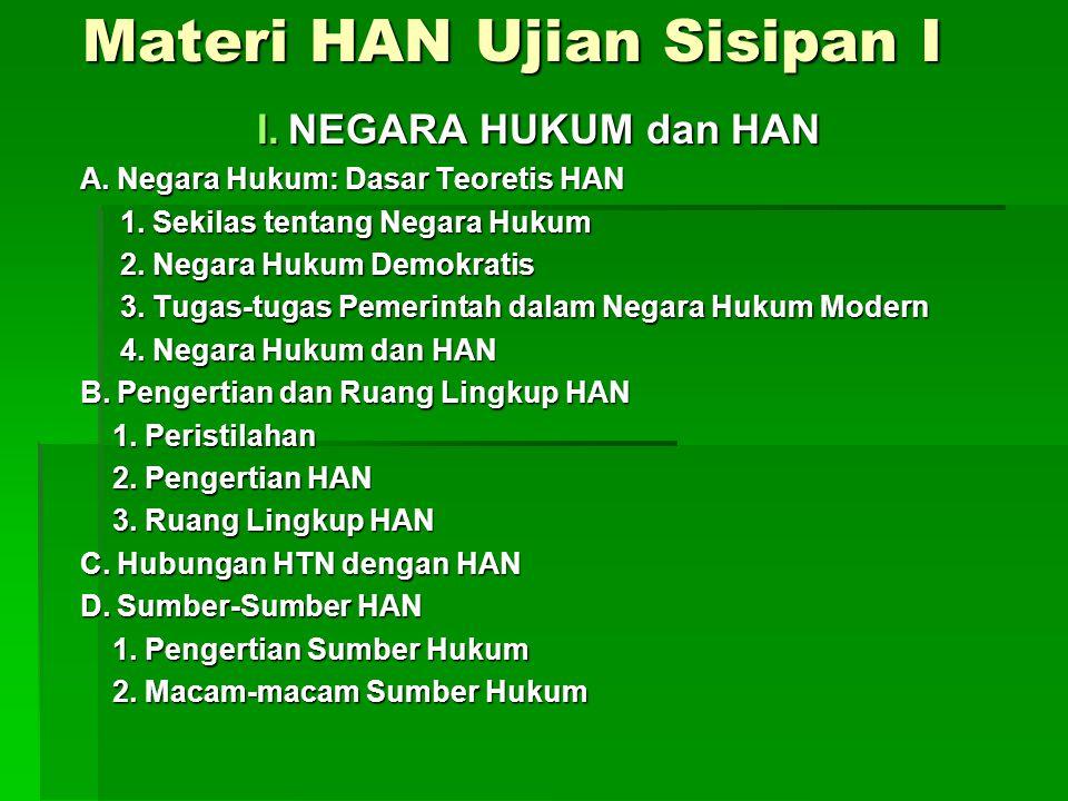 Materi HAN Ujian Sisipan I I.NEGARA HUKUM dan HAN A.