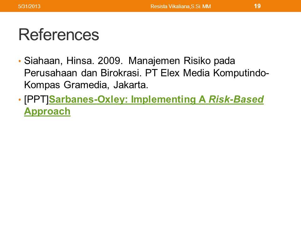 References Siahaan, Hinsa. 2009. Manajemen Risiko pada Perusahaan dan Birokrasi.