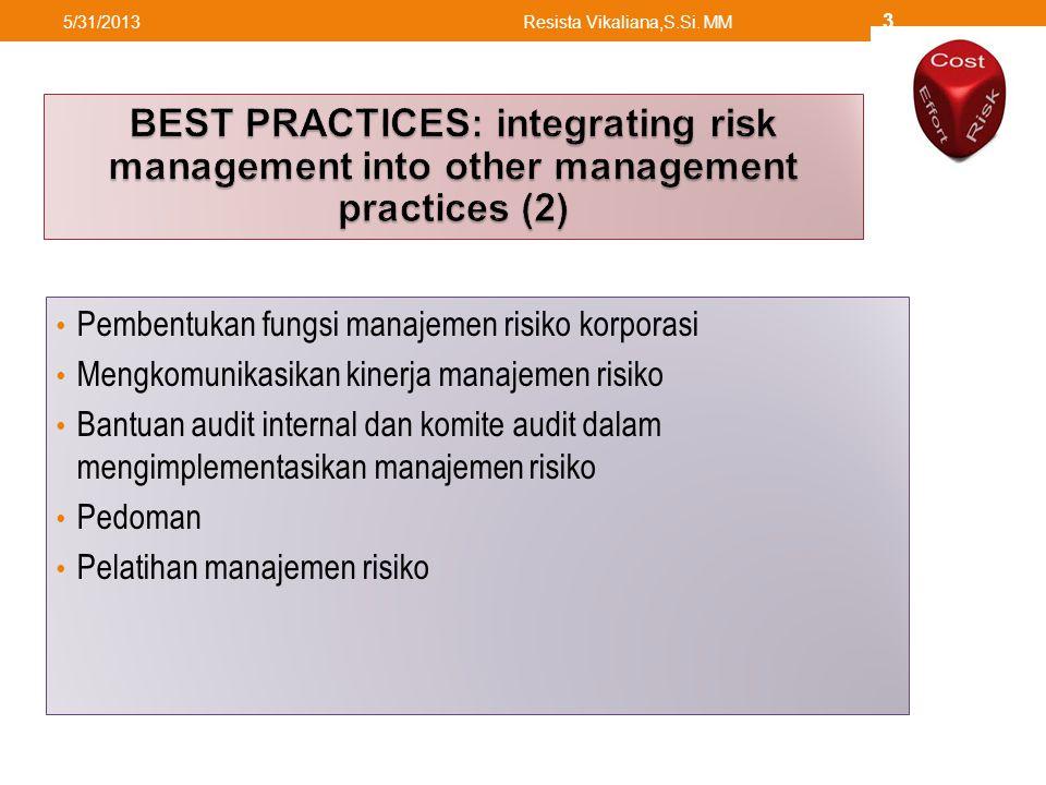 Pembentukan fungsi manajemen risiko korporasi Mengkomunikasikan kinerja manajemen risiko Bantuan audit internal dan komite audit dalam mengimplementasikan manajemen risiko Pedoman Pelatihan manajemen risiko 5/31/2013Resista Vikaliana,S.Si.