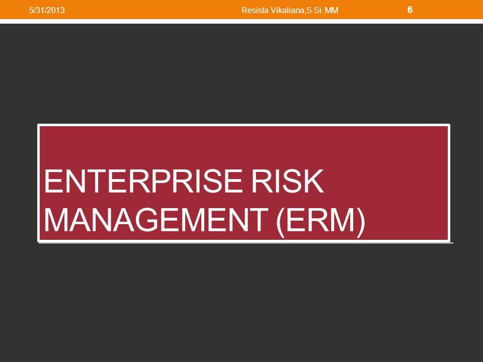 Enterprise Risk Management Manajemen Risiko Perusahaan Metode dan proses yang digunakan organisasi perusahaan untuk mengelola risiko Rangka atau pedoman untuk menjalankan risiko Metode dan proses yang digunakan organisasi perusahaan untuk mengelola risiko Rangka atau pedoman untuk menjalankan risiko 5/31/2013Resista Vikaliana,S.Si.