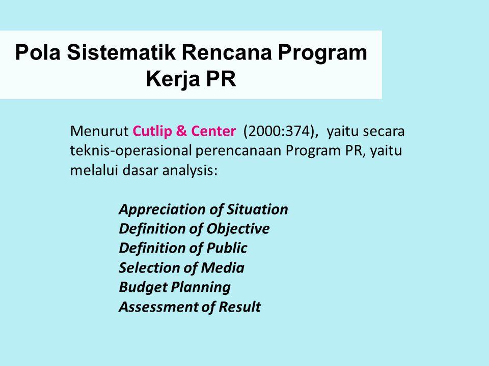 Pola Sistematik Rencana Program Kerja PR Menurut Cutlip & Center (2000:374), yaitu secara teknis-operasional perencanaan Program PR, yaitu melalui das