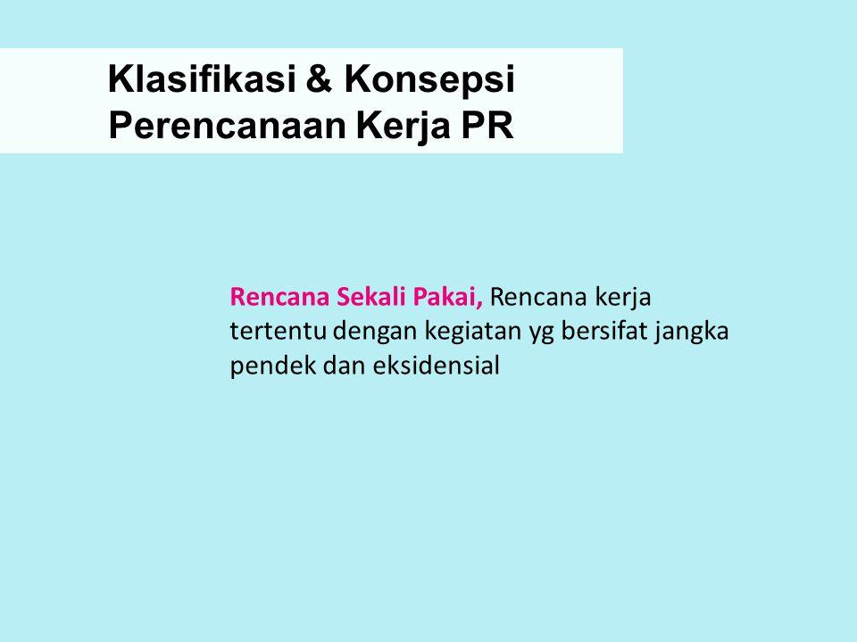 Klasifikasi & Konsepsi Perencanaan Kerja PR Rencana Sekali Pakai, Rencana kerja tertentu dengan kegiatan yg bersifat jangka pendek dan eksidensial