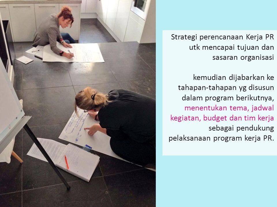 Strategi perencanaan Kerja PR utk mencapai tujuan dan sasaran organisasi kemudian dijabarkan ke tahapan-tahapan yg disusun dalam program berikutnya, m