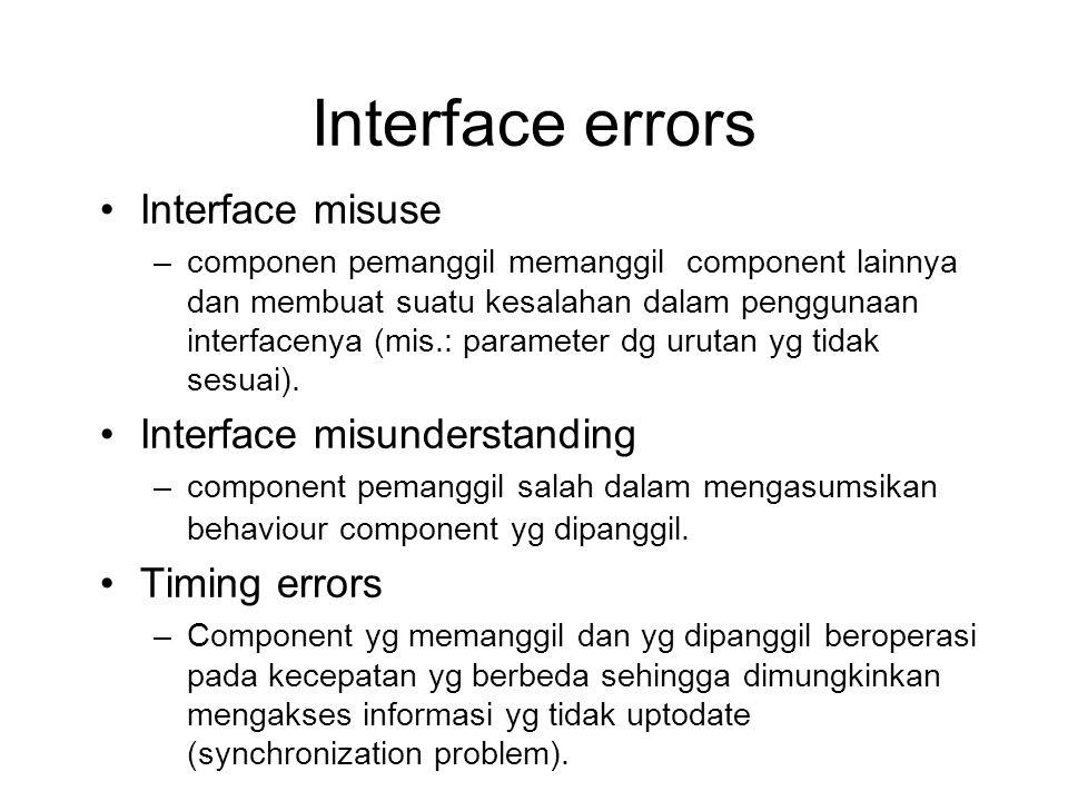 Interface errors Interface misuse –componen pemanggil memanggil component lainnya dan membuat suatu kesalahan dalam penggunaan interfacenya (mis.: parameter dg urutan yg tidak sesuai).