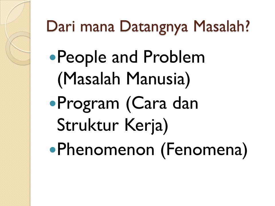 Dari mana Datangnya Masalah? People and Problem (Masalah Manusia) Program (Cara dan Struktur Kerja) Phenomenon (Fenomena)