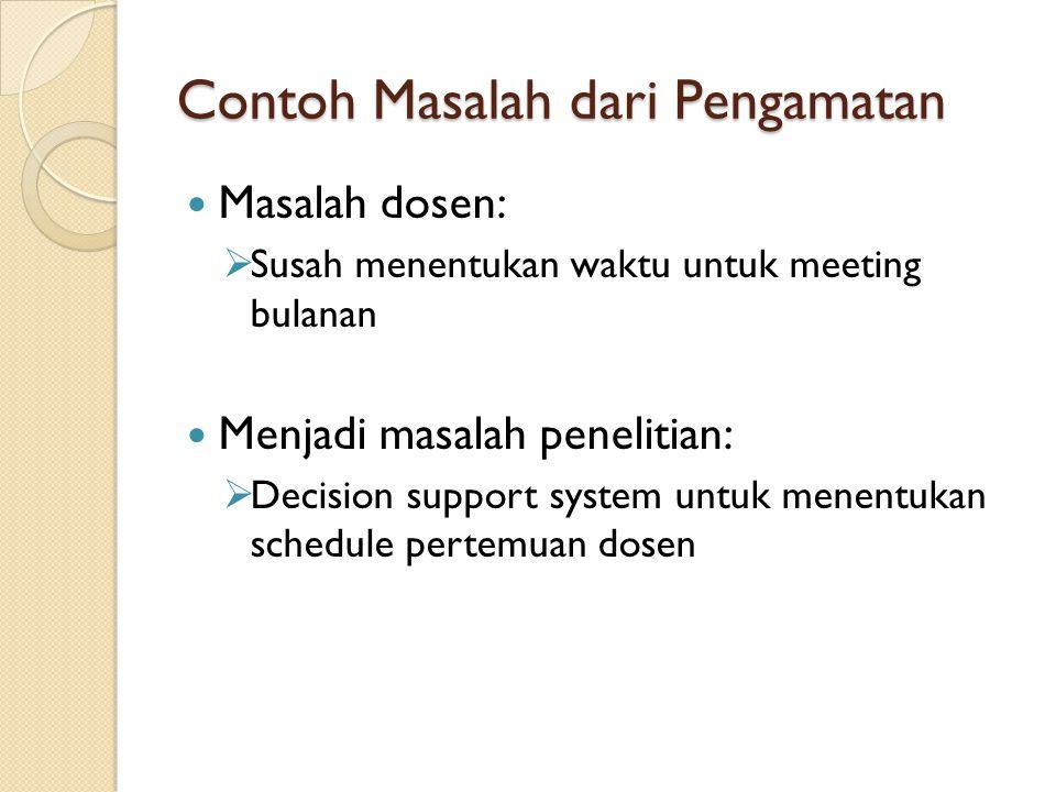 Contoh Masalah dari Pengamatan Masalah dosen:  Susah menentukan waktu untuk meeting bulanan Menjadi masalah penelitian:  Decision support system unt