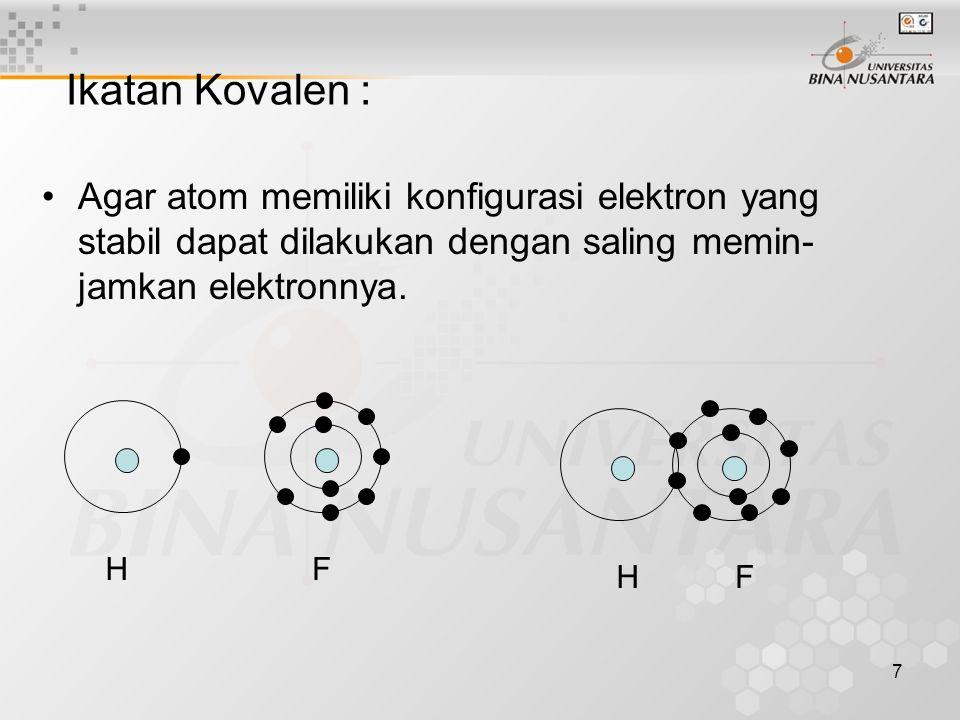 7 Ikatan Kovalen : Agar atom memiliki konfigurasi elektron yang stabil dapat dilakukan dengan saling memin- jamkan elektronnya. HFHF